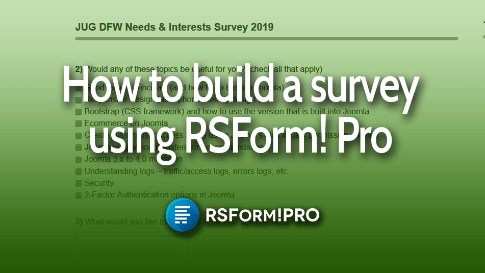 RS Form Pro logo over a screenshot of one of the survey questions